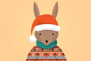 ugly sweater bunny with hat vector