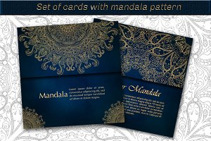 Set of mandala cards.