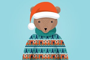 ugly sweater bear with hat vector