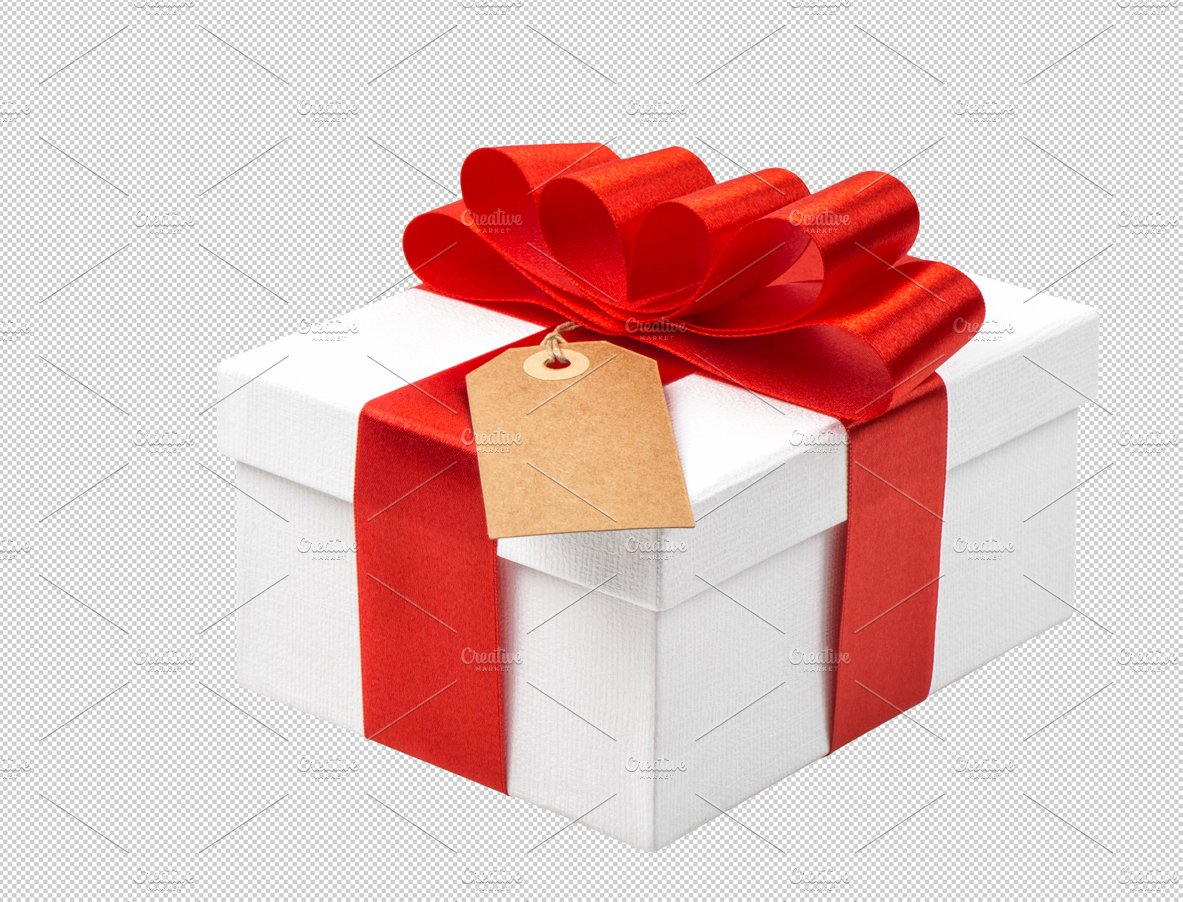 Gift box with red ribbon bow png graphic objects