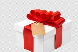 Gift box with red ribbon bow PNG
