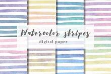 Watercolor stripes digital paper