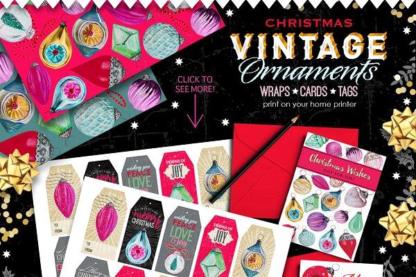 Vintage Ornaments - wraps/cards/tag…
