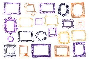 Hand drawn doodle photoframes