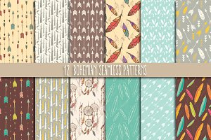 12 Bohemian Seamless Patterns