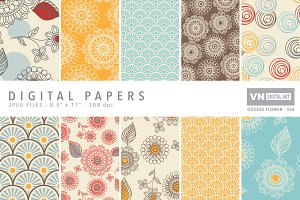 Digital Papers - Doodle Flower - 356