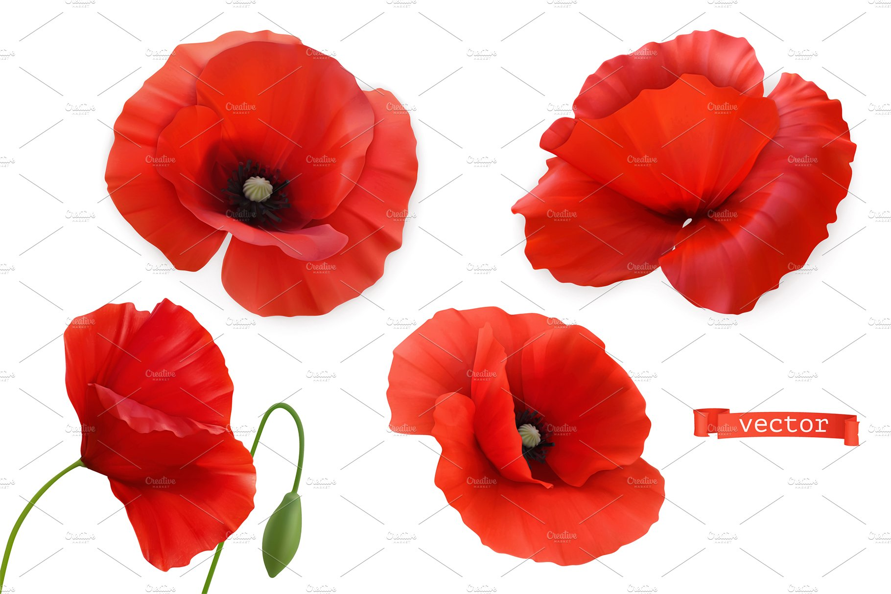 Red Poppies Flowers Poppy Day Custom Designed Icons Creative