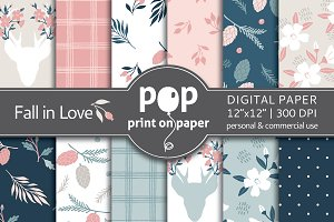 Fall in Love Floral Digital Paper