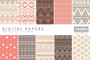 Digital Papers - Doodle Tribal - 524