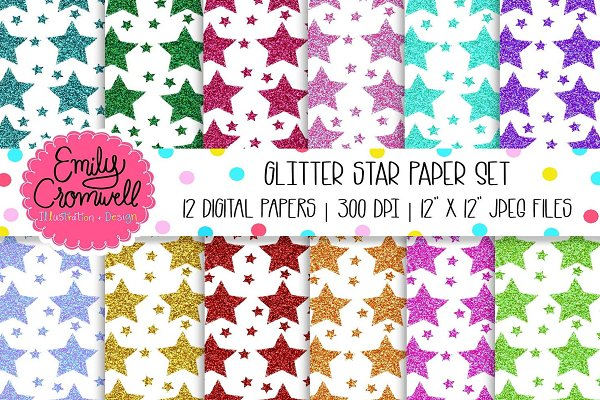 Glitter Stars Digital Paper Set