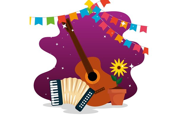 Party Banner With Guitar And Pre Designed Vector Graphics Creative Market