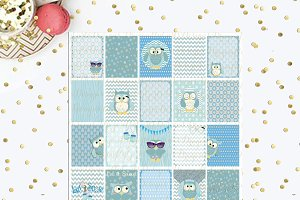 Winter Owls Printable Planner Boxes