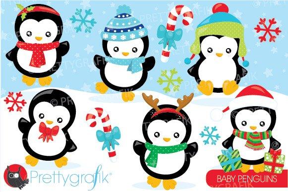 christmas penguin clipart illustrations creative market. Black Bedroom Furniture Sets. Home Design Ideas