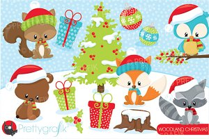 Christmas woodland clipart