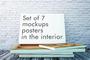 Set of 7 mockups posters