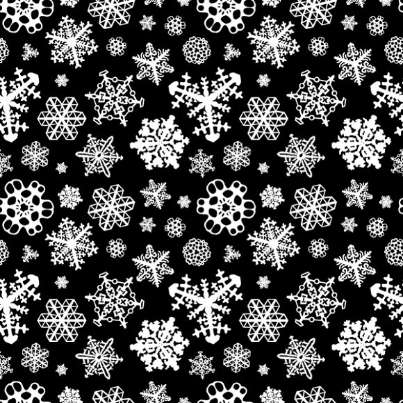 Different White Snowflakes On Black Patterns On Creative