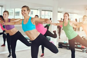 women working out in aerobics class