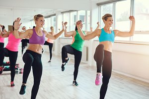 Group of fit women exercising