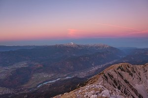 Beautiful pink sunrise in the alps
