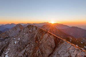 Beautiful sunrise in the alps