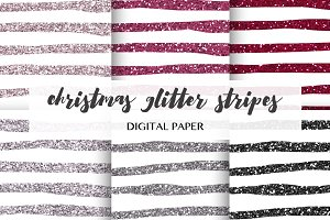 stripes glitter digital paper