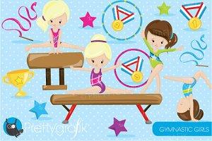Gymnastic girls clipart