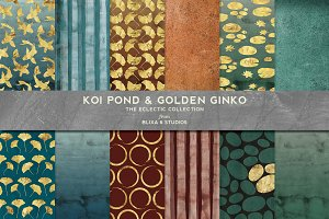 Koi Pond & Golden Ginko Watercolors