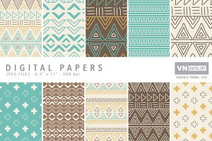 Digital Papers - Doodle Tribal - 525