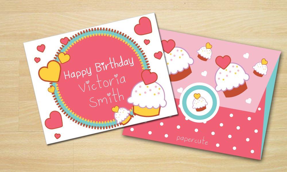 Envelope Sweet Cupcake Card Templates Creative Market