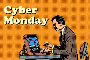 Cyber Monday computer and human