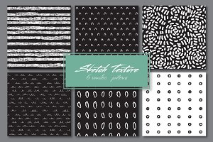 Sketch texture. 6 seamles patterns