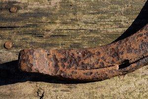 Aged Rusty Horseshoe on Barnwood