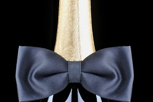 Champagne Bottle with Black Bow Tie
