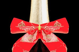 Champagne Bottle with Red Bow