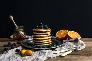 Pancake tower with fresh blueberries