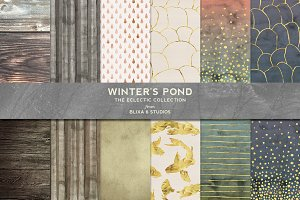 Winter's Pond Watercolor & Gold