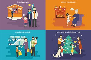 Family flat illustrations set #19