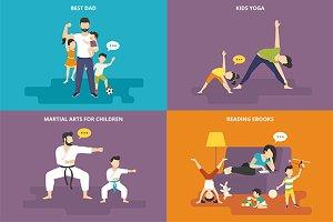 Family flat illustrations set #20