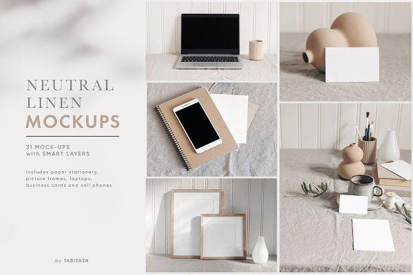 Neutral Linen photo mockups bundle