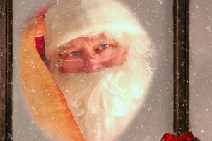 Santa Claus in Window with List