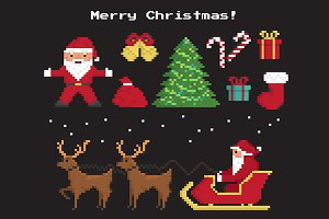 Pixel christmas vector symbols set