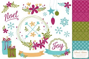 Bohemian Christmas Clipart & Papers