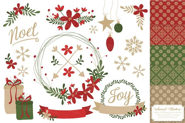 Whimsical Christmas Clipart & Paper…