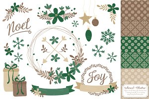 Emerald Christmas Wreath Clipart