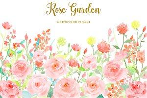 Watercolor Clipart Rose Garden