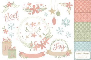 Pastel Christmas Wreaths & Patterns