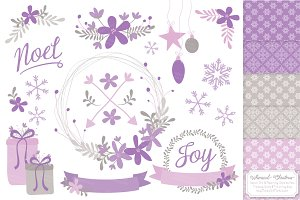Lavender Christmas Wreaths & Paper