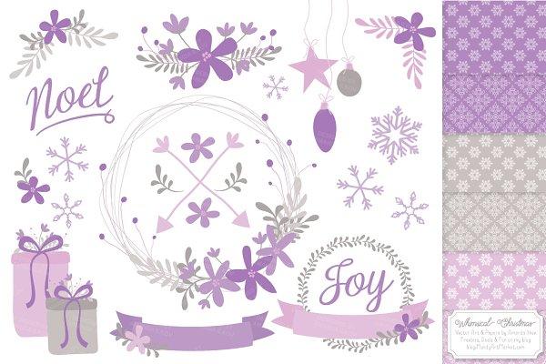 Lavender Christmas Wreaths & Paper