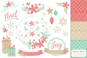 Mint & Coral Christmas Clipart Set