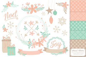 Mint & Peach Wreath Vectors & Papers